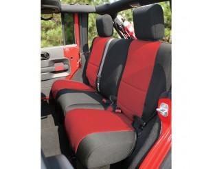 Housse de sièges arrière Néoprène Jeep JK 4 portes noir/rouge